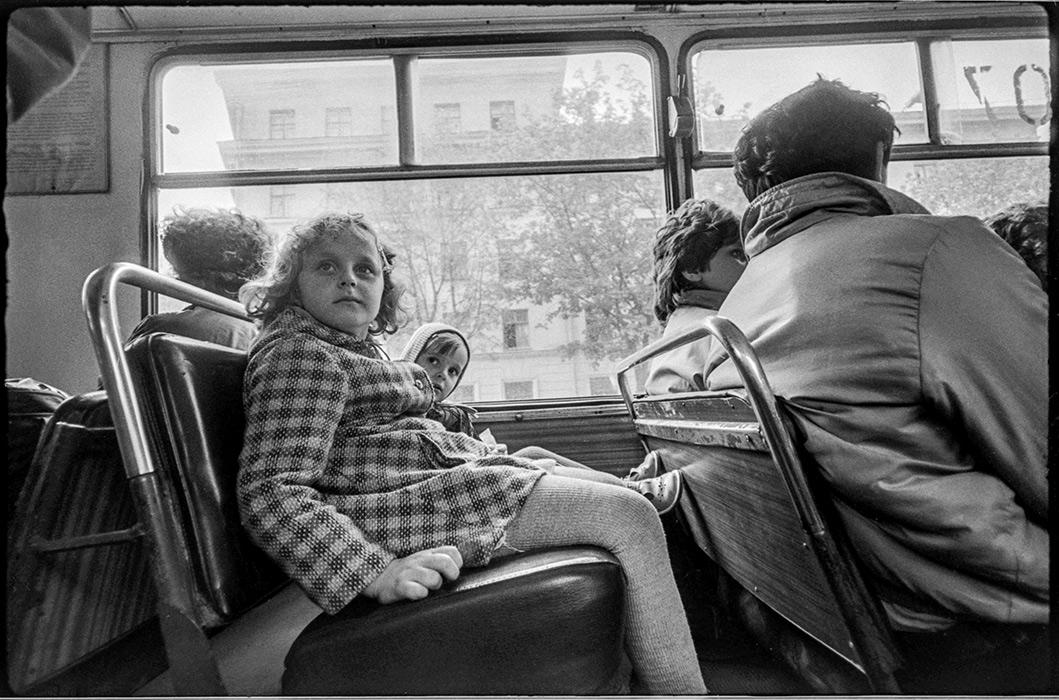 В автобусе. Минск 1986год