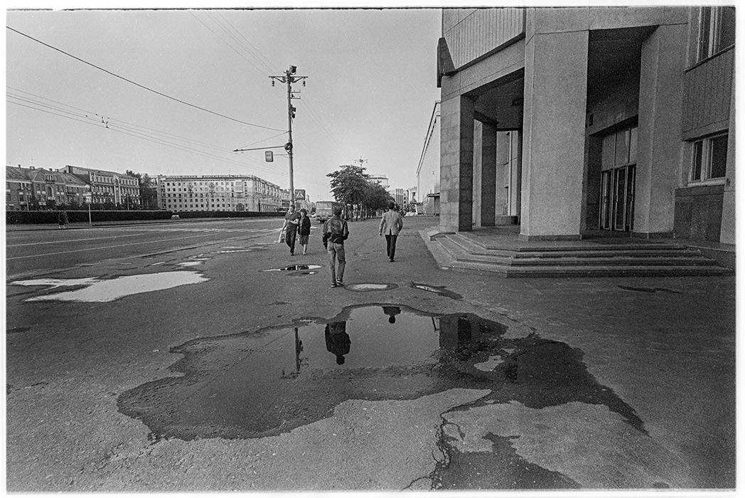 Лужи на пл.Ленина. Минск, 1986 год