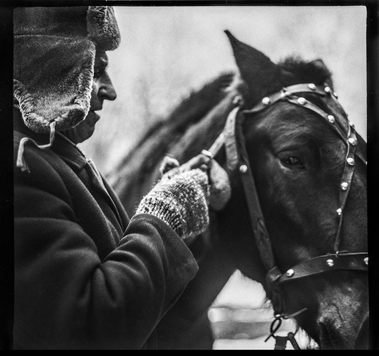 Мужик и лошадь. Минск. 1983 год