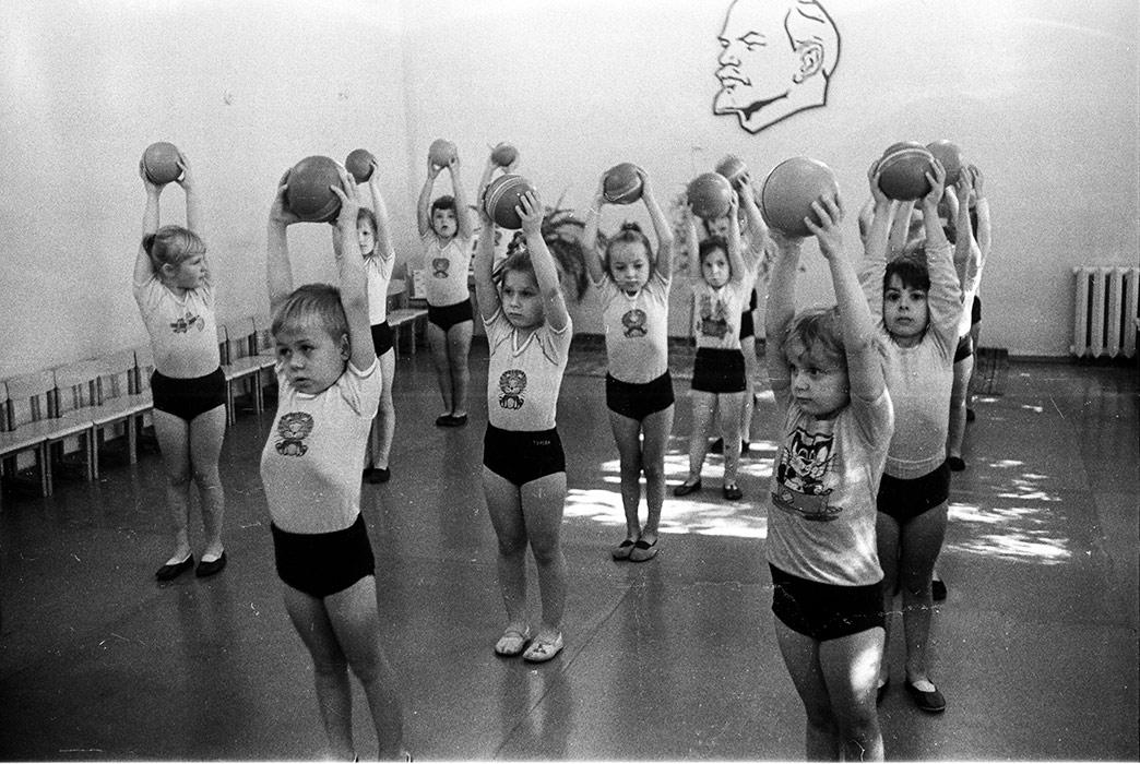 Зарядка в детском садике. Минск, 1986 год